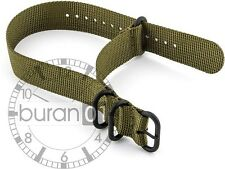18mm watch bands- ZULU PVD Watch Strap Nylon olive green
