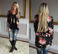 Fashion Women Coat Floral Printed Long Sleeve Outwear Causal Jacket Cardigans