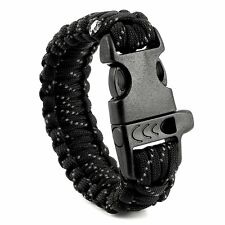 EDC Outdoor Survival Paracord Bracelet Rope Whistle SOS Tool W/ Reflect Light