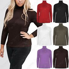 LADIES RIB POLO TURTLE ROLL NECK TOP LONG SLEEVE WOMENS JUMPER PLUS SIZE 16-28