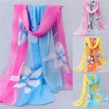 Women Girl Chiffon FLoral Long Soft Neck Scarf Shawl Scarves Stole Wraps NEW  H
