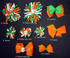 Miami Hurricanes Themed Korkers Classic Layered Toddler Hair bows UPICK
