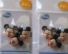 Disney Mickey Mouse, Minnie Mouse & Winnie The Pooh Plastic Sew-On Buttons 2pack