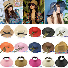 Womens Ladies Wide Large Brim Cap Floppy Fold Summer Beach Sun Straw Beach Hat