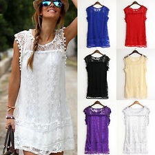 Womens Pom Pom Lace Up Short Mini Dress Ladies Summer Beach Prom Party Sundress