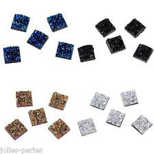 JP 50PCs Uneven Surface Square Resin Embellishments Cabochons Jewelry 12x12mm