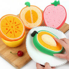 Hot Fruit Shape Sponge Scouring Dish Washing Cleaning Cloth Gadget Kitchen Tools