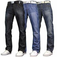 Smith & Jones Mens Designer Regular Fit Straight Leg Jeans w/ Free Belt, BNWT