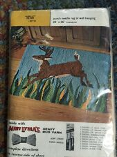 Vintage Aunt Lydia's Punch Needle Rug or Wall Hanging Base: Stag  New in Pkg