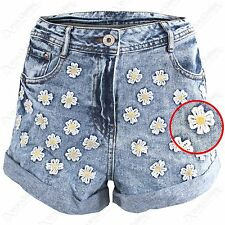 LADIES BLUE DENIM FLORAL DAISY HOTPANTS WOMEN HIGH WAIST BOYFRIEND JEANS SHORTS