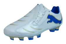 Puma PowerCat 2.10 FG Boys Leather Football Boots / Cleats - White - 2502