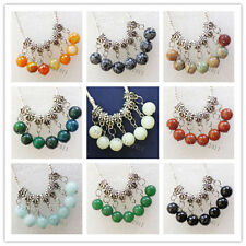 10Pcs Carved Tibet silver Mixed Gemstone Roundd Accessories Pendant bead N-10