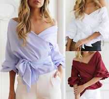 Fashion Women Off Shoulder Casual T-Shirt Sexy Ladies Autumn Loose Tops Blouse