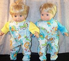 """Doll Clothes Baby fit American Girl Bitty Twins 15"""" inch Pajamas Elephant Monkey"""
