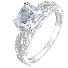 1.53ct Princess White Cz 925 Sterling Silver Wedding Engagement Ring Size 5-10