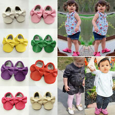 Baby Kid Infant Toddler Shoe Soft Sole Non-Slip Bowknot Artifical PU Girls Shoes