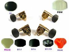 Ukulele Golden Tuners Machine Heads  Plastic Ebony Inlay Buttons 4p 327G