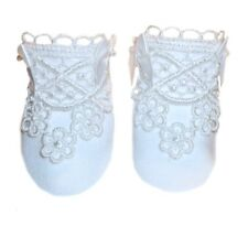 White Stunning Lace Baby Girl Crib Shoes Booties and Socks Preemie Newborn