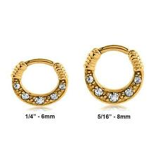 "Gold 316L Surgical Steel Septum Clicker Nose Ring Hoop CZ 1/4"" 5/16"" 14G 16G"