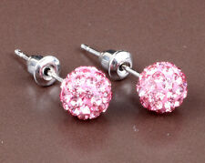 1 pair Shining 10mm Pink CZ Disco Bead Ball Pave Earrings jewelry DIY