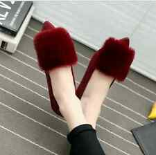 Womens Faux Fur Pointed Toe Loafers Sneakers Flat Pumps Shoes Slip On 3Colors Sz