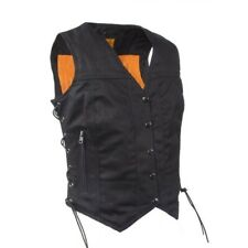 WOMENS LADIES MOTORCYCLE BLACK DENIM VEST w/ SIDE LACES & GUN POCKETS - DA90