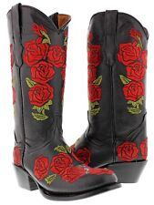 Women's Black Rosal Flowers Roses Leather Cowgirl Boots Western Cowboy Round