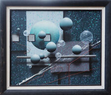 Spheres cosmos space vintage abstract illusionism painting by J. Kugler