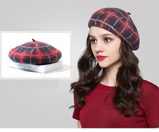 New Fashion Women Plaid Wool Warm Beret Beanie Cap Hat French Style