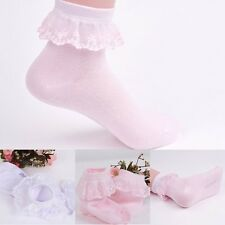 Children Girls Kid Ankle Cotton Lace Socks Bowknot Breathable Solid Soft Hosiery