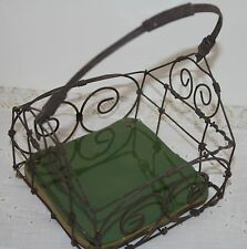 Rustic Wire w Tile Basket Primitive Style Basket Carry All Plant Holder
