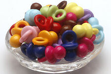 50 pcs Acrylic Mixed Color Pacifier Shape Jewelry Making Spacer Beads Wholesale