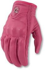 Icon Womens Pursuit Leather NON-Perforated Street Gloves Pink All Sizes