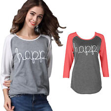 Lady Womens Crew Neck Blouse Long Sleeve T-Shirt Happy Printed Winter Baggy Tops