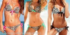 Very Sexy Swimwear Add 2 Cups Push-Up Zebra/Leopard Brazilian Swim Halter Bikini