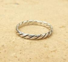 925 Sterling Silver 2.5mm Twisted Rope Band Stacking Ring