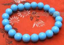 """Beautiful! 8 to16mm Blue Round Turquoise 7.5"""" to 8"""" bracelet Free shpping-bra224"""