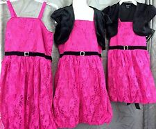 Girls pink lace Bubble lined dress w/ black shrug size  5 6 7 8 12 Easter dress