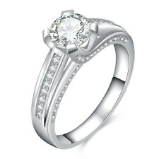 1.9ct Round Cut CZ 10k White Gold Plated Wedding Engagement Ring Gemstone Sz 6-9