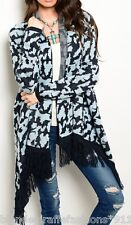 Navy Blue Long Sleeve Fringe Open Front Tunic Cardigan/Cover-Up S M L