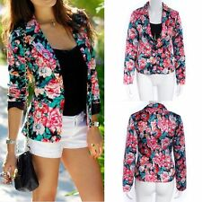 New Women Slim One Button Business Blazer Casual Floral Suit Jacket Coat Outwear