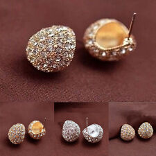 Fashion Women Girls Golden Silver Plated Alloy Crystal Stud Earring DIY Gift