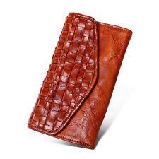 Mens Vintage Braided Trifold Wallet Checkbook Card Purse Genuine Leather Handbag