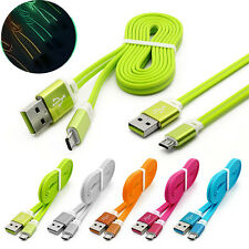 1m/3ft Glow In The Dark Flat Noodle Fast Micro USB Sync Data Charger Cable Lot