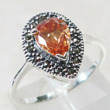 SPARKLING MARCASITE 1 CT TOPAZ 925 STERLING SILVER RING SIZE 5-10