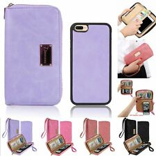 Magnetic Leather Wallet Purse Zipper Bag Phone Case Cover Bag For iPhone 7/plus