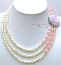 SALE 6-7mm White natural FW flat Pearl 3 Strands neckalce pink beauty Clasp-5199