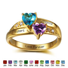 Customized Gift Gold Plated 925 Silver Birthstone Name Ring Infinity Couple Ring