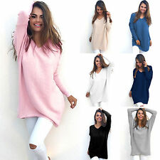 New Womens Fall Chunky Knitted Sweater Baggy Top Jumper Casual Dress Outwear Hot