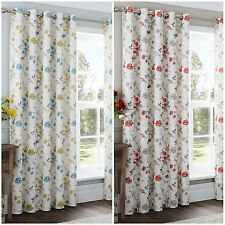 Vintage Floral Patterned Extra Long Curtains – Eyelet Style Heading